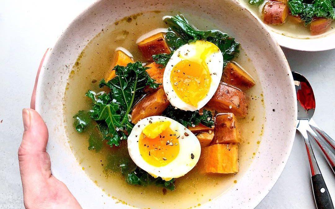Sweet Potato & Kale Broth by Melissa Hemsley